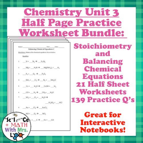 Chemistry stoichiometry worksheet 3